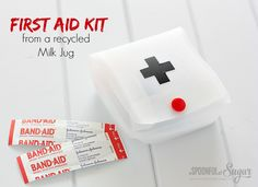 First Aid Kit from recycled milk jug. Would be great for making Ouch Pouches (personal first aid kits) Plastic Milk, Plastic Bottle Crafts, Plastic Bottles, Milk Carton Crafts, Milk Cartons, Old Milk Jugs, Camping First Aid Kit, Camping Crafts, Rv Camping