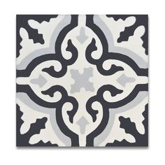 Pack of 12 Argana Black and Grey Handmade Cement/ Granite 8-inch x 8-inch Floor and Wall Tile (Morocco)