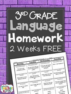 FREEBIE!! Common Core Spiral LANGUAGE Homework for 3rd Grade! 2 Weeks FREE!