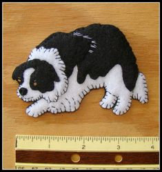 Border Collie Refrigerator Magnet-slash-Christmas ornament. Handmade felt-original design-great gift for dog lovers.
