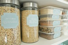 The Social Home: Pantry Pretty: Dollar Store Pantry Makeover. Looks so organized and very nicely provided link to print those cute labels. I don't know about storing food in plastic though. Glass yes, but trying to get away from using plastic.