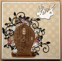 Tonic Studio Rococo Fairy door and Fairy and a few different dies to finish the card off. Card Making Inspiration, Making Ideas, Tonic Cards, Tattered Lace Cards, Lavinia Stamps, Embossed Cards, Fairy Doors, Die Cut Cards, Miniature Fairy Gardens