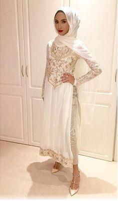 Desi hijab white shalwar kameez