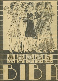 """""""..my original clipping of an ad for five Biba outfits and I remember them very well, Barbara asked me to give them a look of the Pointer Sisters . I drew them at Whitmore Thomas, Steve designed the ad so It must have been summer 1974."""""""