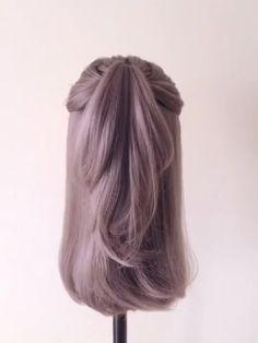 Hairstyle Tutorial 1248 - Hair Styles For School Easy Hairstyles For Long Hair, Braided Hairstyles, Everyday Hairstyles, Wedding Hairstyles, Medium Hair Styles, Short Hair Styles, Underlights Hair, Hair Upstyles, Long Hair Video
