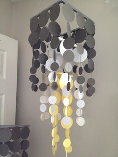 Paper Chandelier for the playroom - eggplant circles instead of yellow