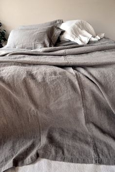 Rustic Rough Stonewashed Linen Bed Cover/ by HouseOfBalticLinen