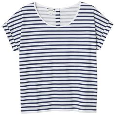 Monki Samira top found on Polyvore featuring polyvore, women's fashion, clothing, tops, t-shirts, shirts, tees, sleek stripes, cotton shirts and striped tee