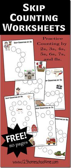 FREE! Skip Counting Worksheets! Helps kids practice counting by 2s, 3s, 4s, 5s, 6s, 7s, and 8s with these fun themed paths! #homeschool #math #multiplication #worksheets #kindergarten #1stgrade #2ndgrade #3rdgrade