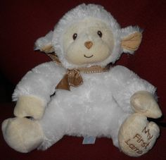 "SOLD! Kids Preferred 9"" Baby My First Lamb Plush Stuffed White Sewn Eye Heart Nose  #KidsPreferred"