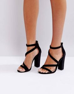 98037072e4d Miss KG Asymmetric Block Heeled Velvet Sandal Black Wedge Sandals