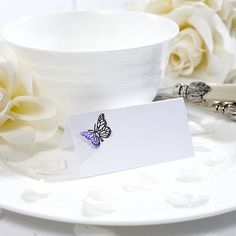 Lasercut Butterfly Decorated Place Card Pack - Confetti.co.uk