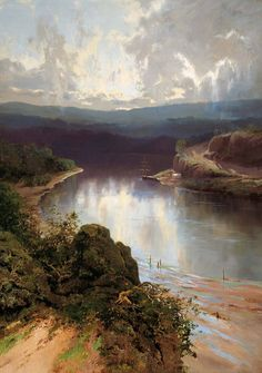 An Australian Fjord - William Piguenit 1901 Old Paintings, Landscape Paintings, Landscapes, Australia Landscape, Fjord, Dream Art, Art Google, Art Pictures, Sunrise