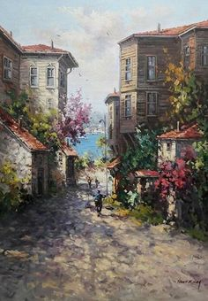 Image in Admin's images album Scenery Paintings, Great Paintings, Beautiful Places, Beautiful Pictures, Portrait Pictures, Turkish Art, Istanbul, Installation Art, Garden Art