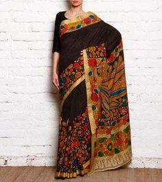 Brown & Multicoloured Kalamkari Printed Mangalgiri Cotton Saree