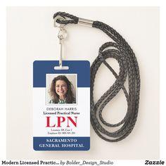 Shop Modern Licensed Practical Nurse Photo ID Badge created by Bolder_Design_Studio. Nurse Badge, Rn Nurse, Id Badge, Nursing License, Lpn Nursing, Nurse Photos, Lanyard Designs, Registered Nurse Rn, Licensed Practical Nurse