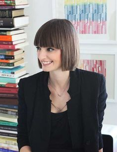 Straight French Short Bob with Bangs