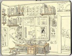Какой прекрасный блокнот! Snatched spreads 23-24 Sketchbook by Mattias Adolfsson, via Behance