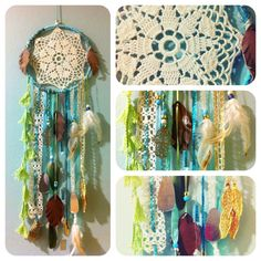 Sea green dream catcher measuring approx. 7 in diameter by 23 in length featuring:    ☆ vintage lace doily center  ☆ light green tassels, vintage lace trims in ivory, turquoise and gold  ☆ turquoise sequins & pony beads  ☆ gold filigree hamsa sign  ☆ reclaimed leather and humanely sourced white feathers & green parrot feathers  ☆ gold and mirror embellishments from India    About my Dream Catchers:    I learned to make dream catchers at camp when I was a little girl growing up in Oklahoma…