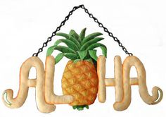 Pineapple Welcome Sign - Metal Wall Decor - Tropical Design, Painted Metal…
