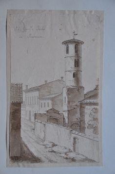 Ravenna, veduta della chiesa di San Giovanni e Paolo.  Acquerello del 1821.  Raccolta personale.