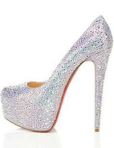 in Christian Louboutin Daffodile Aurora Boreale Strass Pumps Christian Louboutin Red Bottoms, Louboutin High Heels, Cheap Christian Louboutin, Bridal Shoes, Wedding Shoes, Quinceanera Shoes, Quinceanera Ideas, Red Bottom Shoes, Fashion Heels