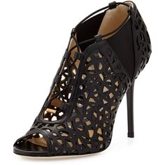 """Jimmy ChooTactic Lace-Up Cutout Bootie, BlackDetailsJimmy Choo napa and patent leather bootie. Intricate cutout design with mesh underlay. 4"""" covered stiletto …"""