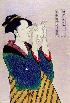 Fumiyomu Onna by Utamaro Kitagawa a traditional Japanese Ukyio-e style illustration of a Japanese woman portrait reading a letter. Japanese Prints, Japanese Art, Traditional Japanese, Japanese Woodcut, Japanese Textiles, Image Fun, Free Image, Japanese Illustration, Japanese Painting