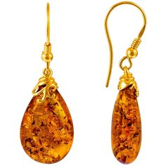 Be-Jewelled Gold Plated Sterling Silver Amber Drop Earrings ($91) ❤ liked on Polyvore featuring jewelry, earrings, teardrop pendant, tear drop earrings, sterling silver pendants, drop earrings and amber earrings