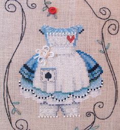 This is for 1 Brookes Books Dress Up Alice cross stitch chart-only by Brooke Nolan Who says youre too old to play Dress Up? Stitch an Alice Hardanger Embroidery, Cross Stitch Embroidery, Embroidery Patterns, Hand Embroidery, Cross Stitch Love, Counted Cross Stitch Patterns, Cross Stitch Designs, Alice In Wonderland Cross Stitch, Diy Broderie