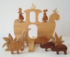 Wooden Toy Noah's Ark Waldorf Miniature with by OohLookItsARabbit