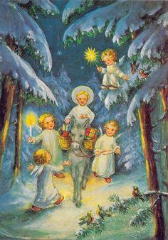 Oude kerstkaarten 2 - Elfen & Boeken