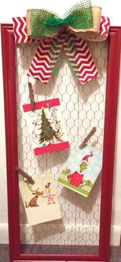 Beautiful #DIY #Christmas Card/Photo Display Frame. Click on the picture to see the how to video!