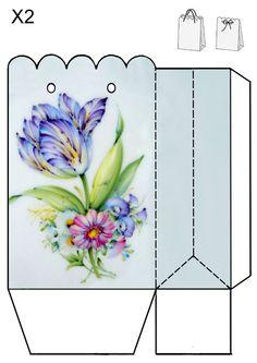 blue tulip bag JB Craft Bags, Craft Gifts, Diy Gifts, Diy Gift Box, Diy Box, Gift Boxes, Printable Box, Printable Crafts, Printables