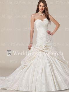 Unique Taffeta Drop Waist Ball Gown Wedding Dress with Flower DE040N