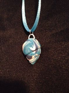 Blue and white shell pendent. Polymer clay necklace glazed for shine by StephsMermaidWishes on Etsy