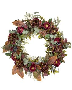 Balsam Hill Rose and Eucalyptus Christmas Wreath Artificial Christmas Wreaths, Wreaths And Garlands, Eucalyptus Wreath, Christmas Decorations, Holiday Decor, Gold Christmas, Happy Thanksgiving, Floral Wreath, Balsam Hill