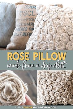 How to make a beautifully textured pillow with a simple hardware store drop cloth. An easy DIY project that you can hand sew. A perfect home decor accent for your farmhouse style bedroom.