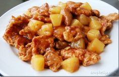 Chinese Pineapple Chicken is easy to make and is similar to lemon chicken, or sweet and sour chicken sans red food coloring. Asian Recipes, Great Recipes, Healthy Recipes, Ethnic Recipes, Sweet N Sour Chicken, Lemon Chicken, Chicken Sauce, Marinated Chicken, Fried Chicken