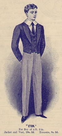 """From 1820 until boys under the height of were required to wear the 'Eton suit', which replaced the tailcoat with the cropped 'Eton jacket' (known colloquially as a """"bum-freezer"""") and included an 'Eton collar', a large, stiff-starched, white collar. Anime Play, Edwardian Costumes, Battle Of Waterloo, Spring Awakening, Win Or Lose, School Boy, White Collar, Hades, Public School"""