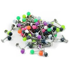Wholesale Package 100 Pieces of Surgical Steel Body Piercing Labret with Striped Ball . $13.99