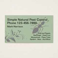Natural Pest Control Insect Design Business Card Simple Clear Clean Design Style Unique Diy Natural Pest Control Pest Control Printing Business Cards