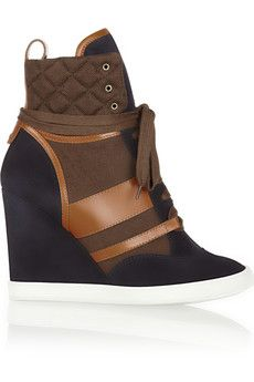 Chloé Suede, leather and canvas wedge sneakers | NET-A-PORTER