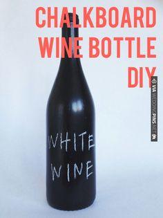 Chalkboard Wine Bottle DIY | CHECK OUT MORE IDEAS AT WEDDINGPINS.NET | #weddings #diyweddings #diy