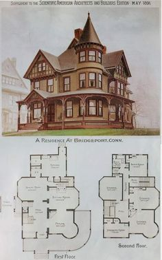Photo Building Plans, Building A House, Victorian Library, Victorian Style Homes, Victorian Farmhouse, Victorian House Plans, Vintage House Plans, Vintage Houses, Victorian Cottage