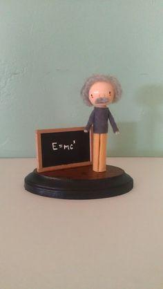 Albert Einstein Clothespin Doll - MADE TO ORDER