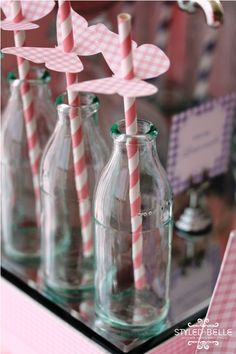 straw toppers - the gingham butterflies are pretty - would be a nice accent to the grey chevrons if those are pulled in somewhere else...