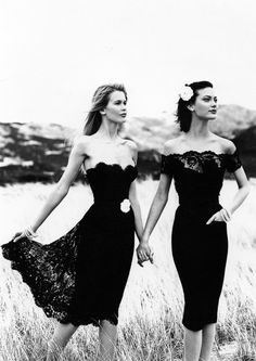 black lace dress + strapless and off shoulder Shalom Harlow & Claudia Schiffer for Chanel by Karl Lagerfeld.