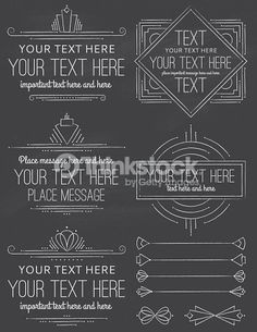 Vintage Art Deco Design Elements in a chalkboard style. Fonts: Grand Hotel, Ostrich Sans Medium, Cantarell