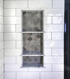 Arabesque Tile Shower Shelf Niche White Subway shower Tile Marble Bathroom Shelves, not sure Tile Shower Shelf, Bathroom Niche, Shower Niche, Master Shower, Small Bathroom, Bathroom Ideas, Shower Tiles, Bathroom Stuff, Bathroom Makeovers